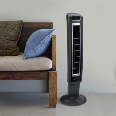 entryway with bench and Lasko High-Reaching Tower Fan, model T42552