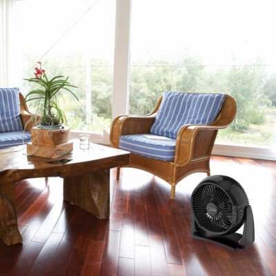 The Power Circulator Fan with Remote Control, Model A10802 in a room.