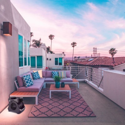 Rooftop Patio with Lasko Misto Outdoor Fan
