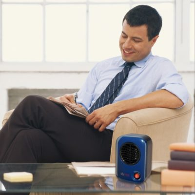 Lasko, MyHeat™ Personal Heater – Blue, Model 102, on coffee table