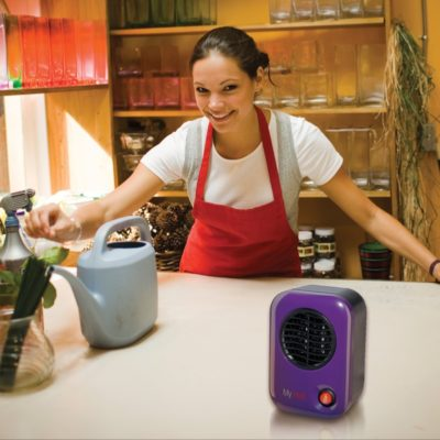 Lasko, MyHeat™ Personal Heater – Blue, Model 106, on kitchen counter