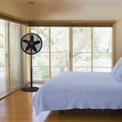 Lasko Black Oscillating Pedestal Fan Model 1827 in Bedroom
