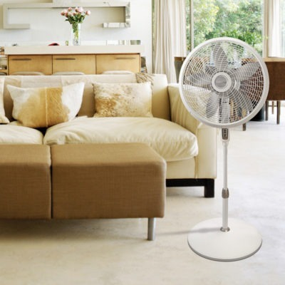 Lasko 18″ Remote Control Cyclone® 2 Pedestal Fan Model 1889 in living room