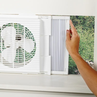 Panel of Lasko Twin Window Fan model 2137