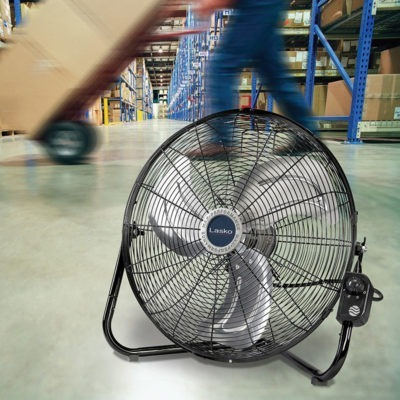 Lasko High Velocity Floor or Wallmount Fan Model 2264QM in Warehouse with Worker