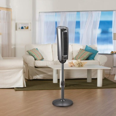 lasko 52″ Space-Saving Pedestal Fan with Remote Control model 2535 in living room