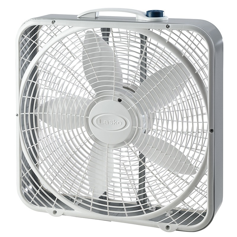 Front of Lasko White power plus box fan model 3721