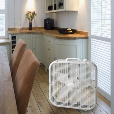 Lasko White Box Fan Model 3733 in Kitchen