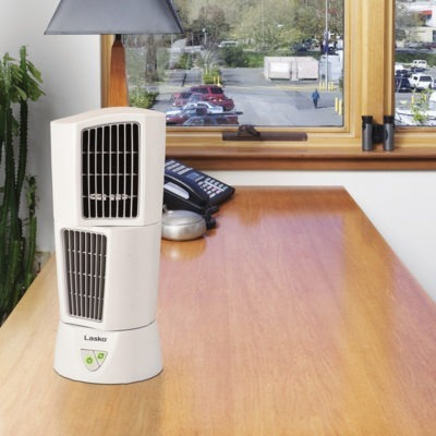 lasko PLATINUM Desktop Wind Tower® model 4917 on desk