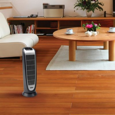 Lasko Digital Ceramic Tower Heater with Remote Control Model 5160 in living room