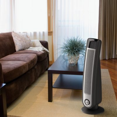 "33"" Touch Control Ceramic Tower Heater with Remote Control Model 5592, in the living room"
