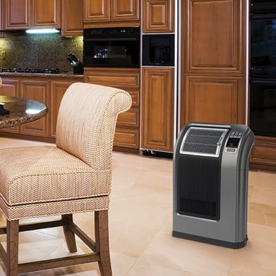 Lasko Cyclonic Digital Ceramic Heater with Remote Control Model 5840 in a Kitchen