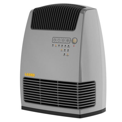 Front view of Lasko Electronic Fan-Forced Heater with Warm Air Motion Technology - Grey model 6251