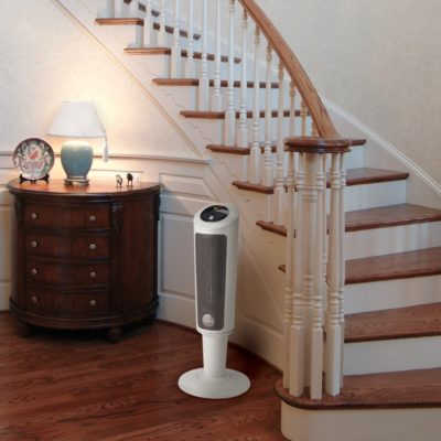 Lasko, 30″ Digital Ceramic Pedestal Heater with Remote Control, Model 6356, next to stairs