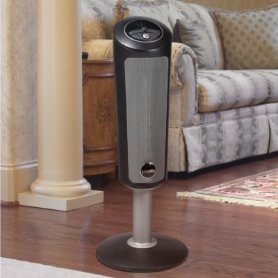 "Lasko 30"" Digital Ceramic Pedestal Heater with Remote Model 6367 in living room"