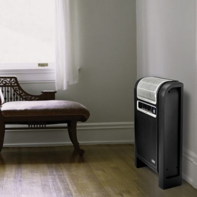 Lasko Cyclonic Ceramic Heater with Remote Control Model 760000 against wall