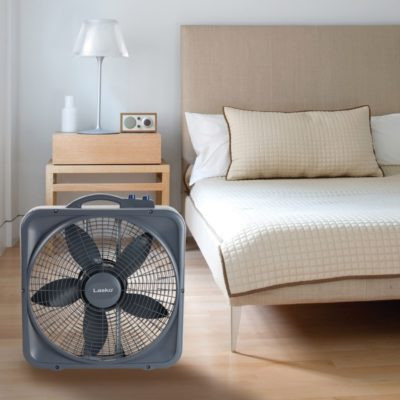 Lasko Weather-Shield® Select 20″ Box Fan with Thermostat, Model B20573, in modern bedroom