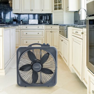 Lasko Weather-Shield® Select 20″ Box Fan with Thermostat, Model B20573, in kitchen
