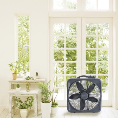 Lasko Weather-Shield® Select 20″ Box Fan with Thermostat, Model B20573, in sunroom
