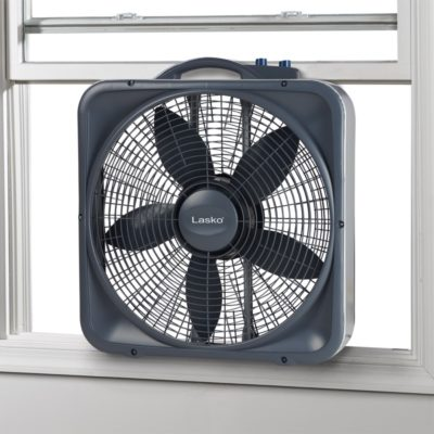 Lasko Weather-Shield® Select 20″ Box Fan with Thermostat, Model B20573, in window