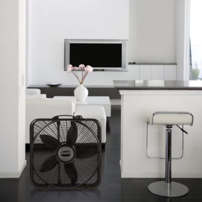 Lasko, 20″ Power Plus Box Fan, Model B20801, in modern kitchen