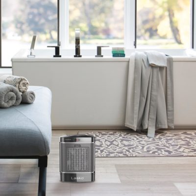 Lasko Simple Touch Ceramic Heater, Model CD08500, in bathroom