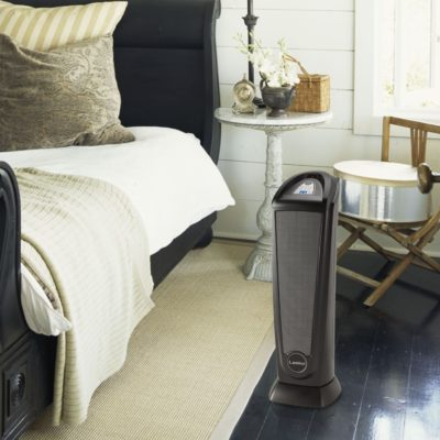 Lasko, Ceramic Tower Heater with Remote, Model CT22415, in bedroom