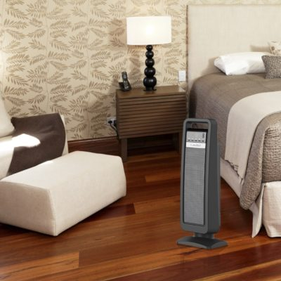 Lasko, Digital Ceramic Tower Heater with Save-Smart Control, Model CT22422, in bedroom