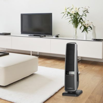 Lasko, Ceramic Tower Heater with Remote Control, Model CT22650, in modern living room