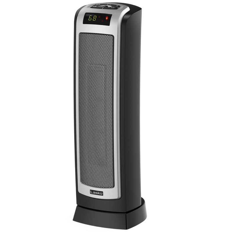 Lasko, Digital Ceramic Tower Heater with Remote Control, Model CT22722, tilted left view