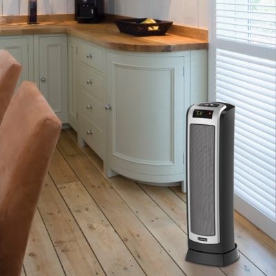 Lasko, Digital Ceramic Tower Heater with Remote Control, Model CT22722, in kitchen