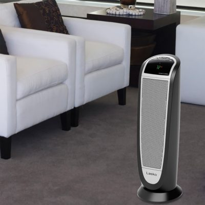 Lasko, Digital Ceramic Tower Heater with Remote Control, Model CT22766, in living room