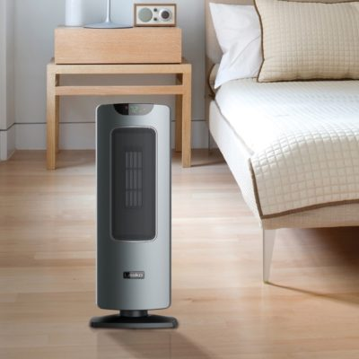 Lasko Ultra Ceramic Tower Heater with Remote Control and Save Smart® Technology, Model CT24702, modern bedroom