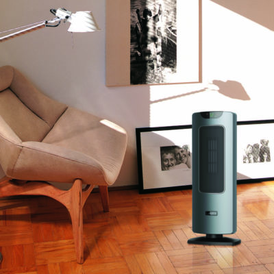 Lasko Ultra Ceramic Tower Heater with Remote Control and Save Smart® Technology model CT24702 in living room