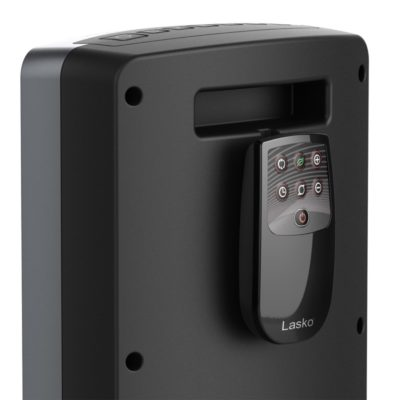 Lasko Ultra Ceramic Tower Heater with Remote Control and Save Smart® Technology, Model CT24702,handle and remote view