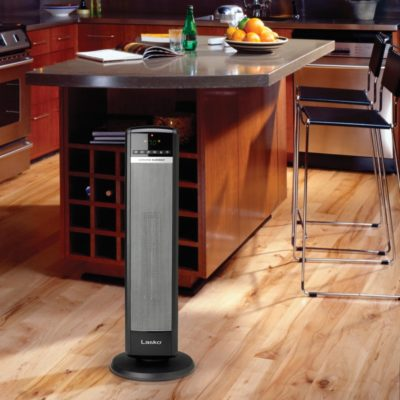 "Lasko, 30"" Tall Tower Heater with Remote Control, model CT30750, in modern kitchen"