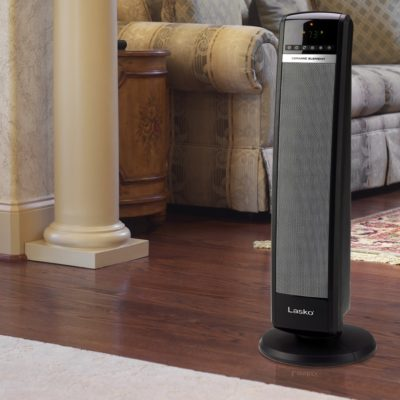 "Lasko 30"" Tall Tower Heater with Remote Control model CT30750 in living room"