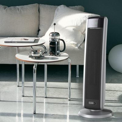 Lasko, Digital Ceramic Tower Heater with Remote Control, Model CT30786, in modern living room