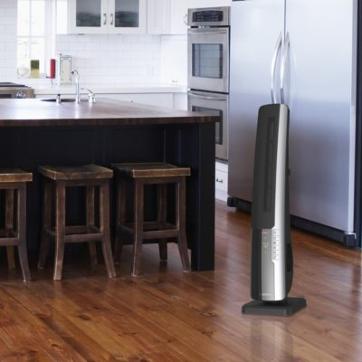 Lasko, Ultra Digital Ceramic Tower Heater with Remote Control, Model CT32960, in kitchen