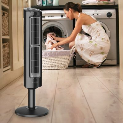 lasko Oscillating Tower Fan with Twin Grills model T38301 in laundry room