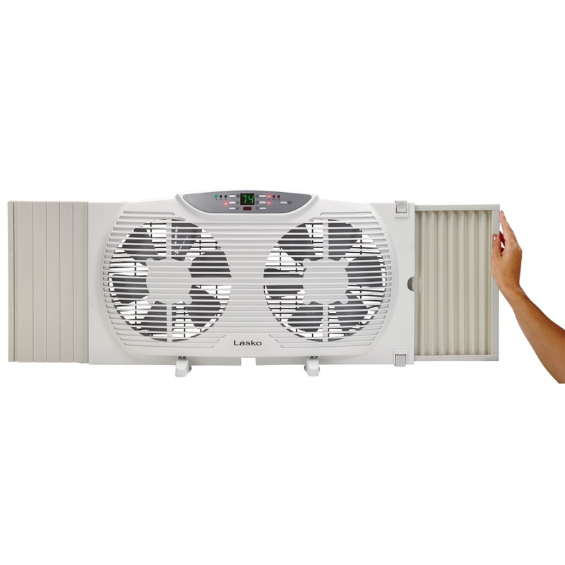 lasko Electrically Reversible Twin Window Fan with Remote Control model W09550 front panel