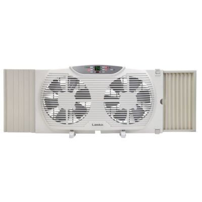 lasko Electrically Reversible Twin Window Fan with Remote Control model W09550 front with feet