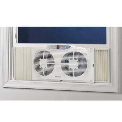 lasko Electrically Reversible Twin Window Fan with Remote Control model W09550 window