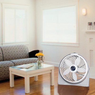 Lasko Fan Model 3520 in living room next to coffee table