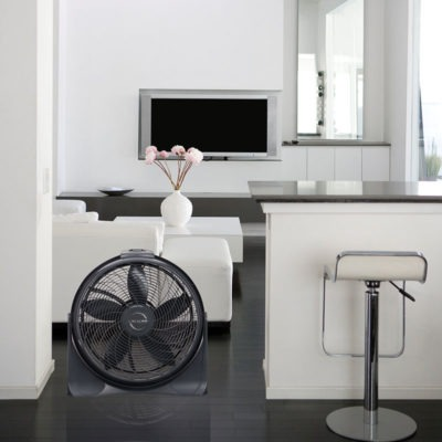 lasko 20″ Cyclone® 4-Speed Fan with Remote Control model A20562 in living room