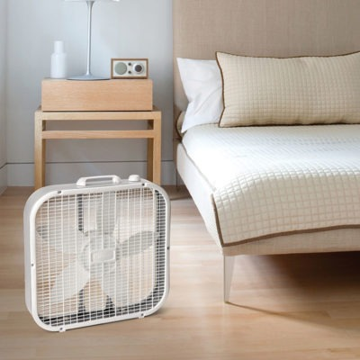 lasko Air Circulating Box Fan model B20200 in bedroom