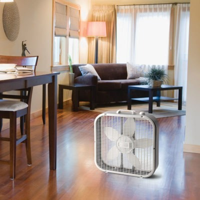 lasko Air Circulating Box Fan model B20200 in living room