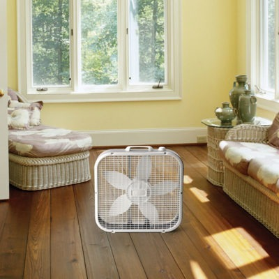lasko Air Circulating Box Fan model B20200 in sunroom