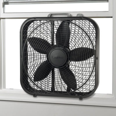 Lasko 20″ Cool Colors® Box Fan - Black model B20301 in window