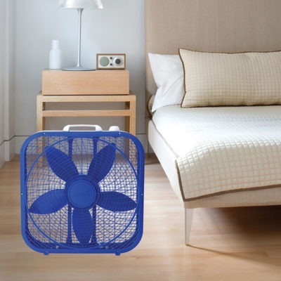 lasko Cool Colors 20″ Box Fan - Royal Blue model b20306 in bedroom